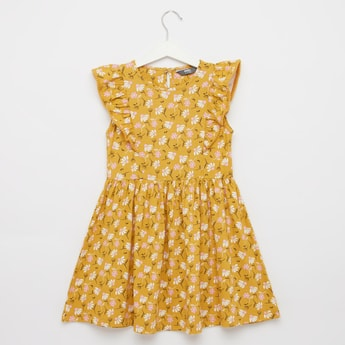 Floral Print Sleeveless Midi Dress with Round Neck