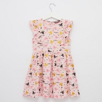 Unicorn Print Sleeveless Midi Dress