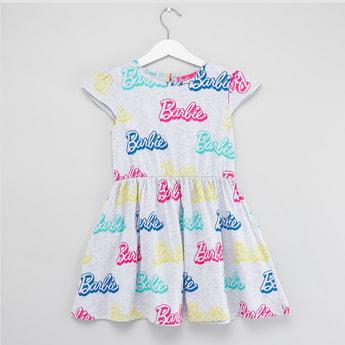 Barbie Logo Print Dress with Cap Sleeves