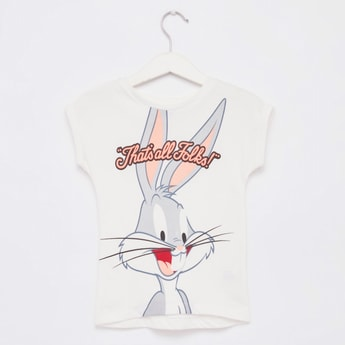 Bugs Bunny Print T-shirt with Round Neck and Cap Sleeves