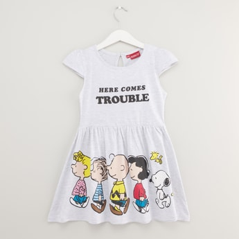 Snoopy and Friends Print Dress with Cap Sleeves
