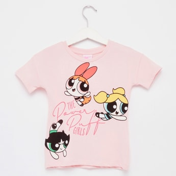 The Powerpuff Girls Print T-shirt with Round Neck and Short Sleeves