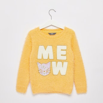 Embroidered Cat Detail Sweater with Long Sleeves