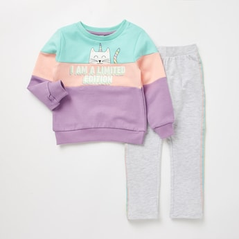 Colour Blocked Round Neck Sweatshirt and Leggings Set