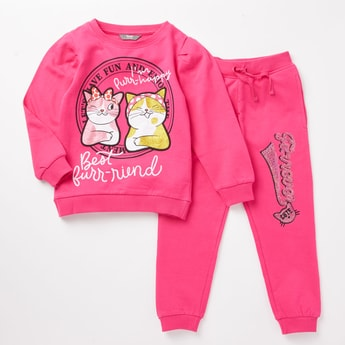 Embellished Sweatshirt and Full Length Jog Pants Set