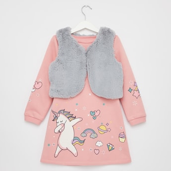Unicorn Print Knee Length Dress with Textured Jacket