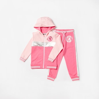 Colourblock Long Sleeves Jacket with Jog Pants Set