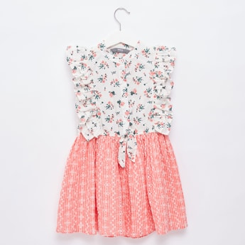 Printed 2-in-1 Mini Dress with Ruffle Detail and Cap Sleeves