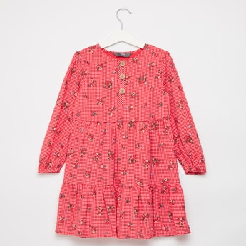 Floral Printed Tiered Dress with Round Neck and Long Sleeves