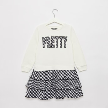 Embroidered Text Detail Sweat Dress with Round Neck and Long Sleeves