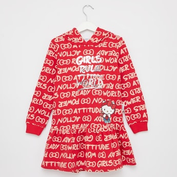 Hello Kitty Embellished Knee Length Dress with Hooded Neck