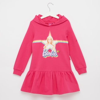 Barbie Print Sweat Dress with Hood and Long Sleeves