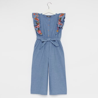 Embroidered Round Neck Jumpsuit with Cap Sleeves