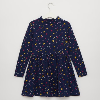 Butterfly Print Turtle Neck Knee Length Dress with Long Sleeves