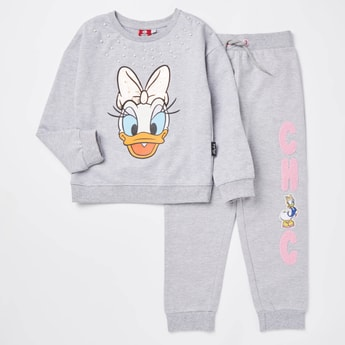 Daisy Duck Print Round Neck Sweatshirt and Jog Pants Set