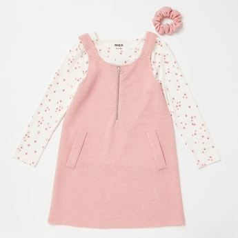 All-Over Print T-shirt with Ribbed Pinafore and Matching Rubberband