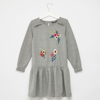 Embroidered Detail Knee Length Dress with Long Sleeves and Frill Detail