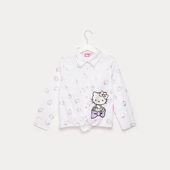 Hello Kitty Print Shirt with Collared Neck Pattern and Long Sleeves