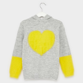 Heart Applique Detailed Sweater with Long Sleeves and Hood