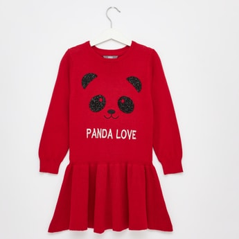 Knitted Round Neck Mini Dress with Long Sleeves