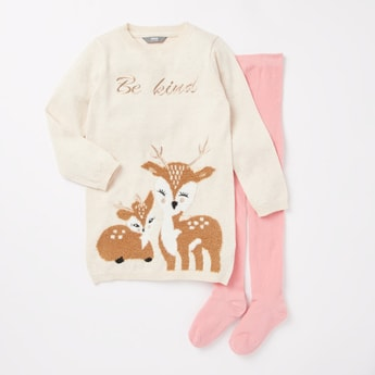 Printed Long Sleeves Sweater with Stockings Set