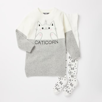 Caticorn Printed Sweater and Stockings Set