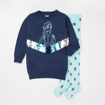 Elsa Embellished Sweater Dress and Tights Set