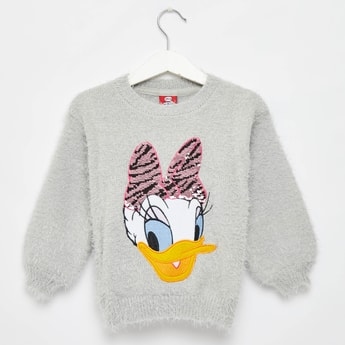 Daisy Duck Embellished Round Neck Sweater with Long Sleeves