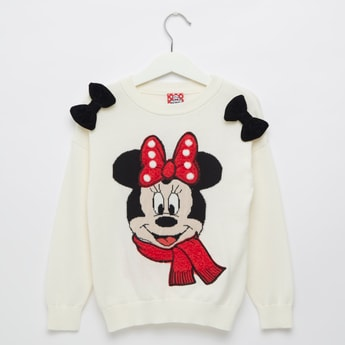 Minnie Mouse Textured Round Neck Sweater with Bow Appliques