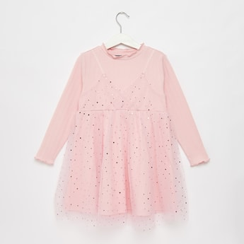 Embellished Long Sleeves Tutu Dress with Ruffle Detailed Neck