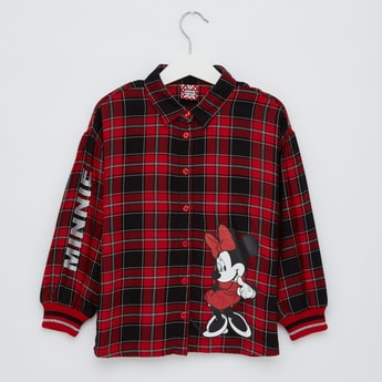 Minnie Mouse Checked Shirt with Collared Neck and Long Sleeves