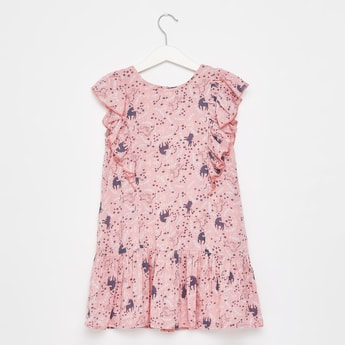 Floral Print Round Neck Dress with Frills and Cap Sleeves