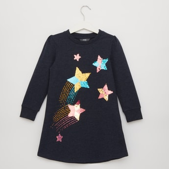 Sequinned Star Round Neck Sweat Dress with Long Sleeves