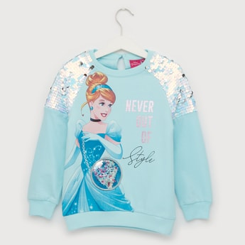 Sequinned Cinderella Print Sweat Top with Round Neck and Long Sleeves