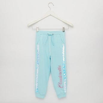 Full Length Cinderella Print Jog Pants with Pockets and Sequin Detail