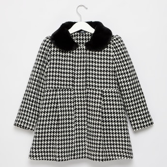 Houndstooth Checks Print Coat with Textured Peter Pan Collar
