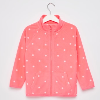 Polka Dots Print Jacket with High Neck and Long Sleeves