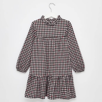Houndstooth Print High Neck Dress with Long Sleeves