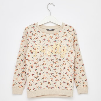 All Over Ditsy Print Sweatshirt with Round Neck and Long Sleeves