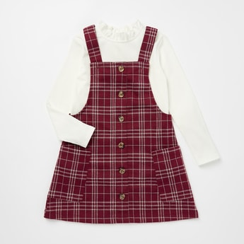 Checked Pinafore Dress and Ruffled Neck Top Set