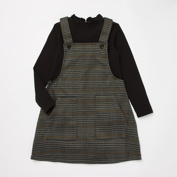 Checked Midi Pinafore and Ribbed High Neck T-shirt Set