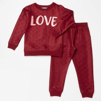 Love Jacquard Long Sleeves Sweatshirt with Jog Pants Set