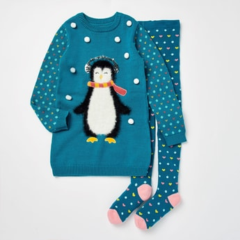 Textured Penguin Sweater Dress with Stockings