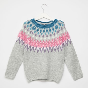 Fairisle Textured Round Neck Sweater with Long Sleeves