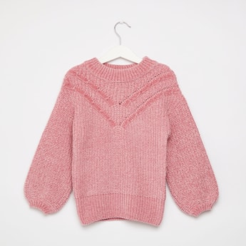 Cable Knit Sweater with Crew Neck and Long Sleeves