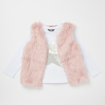 Sequin Embellished Round Neck T-shirt with Fur Gilet Set