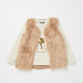Sequin Detail Long Sleeves T-shirt with Fur Detail Gilet Jacket