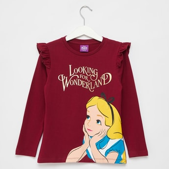 Alice in Wonderland Print T-shirt with Ruffles and Long Sleeves