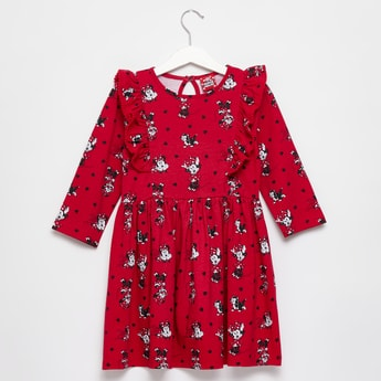 All-Over Minnie Mouse Print Dress with Round Neck and Long Sleeves