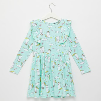 Caticorn Print Dress with Ruffle Detail and Long Sleeves